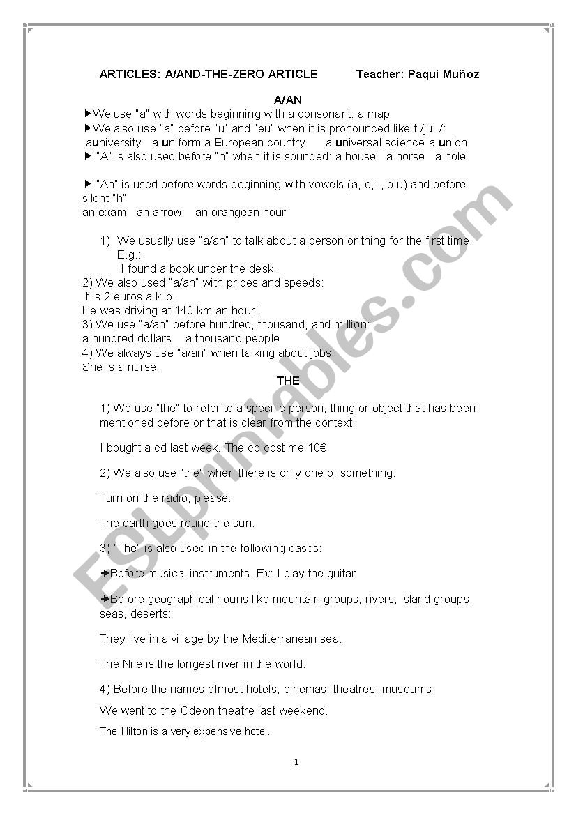 The article theory worksheet