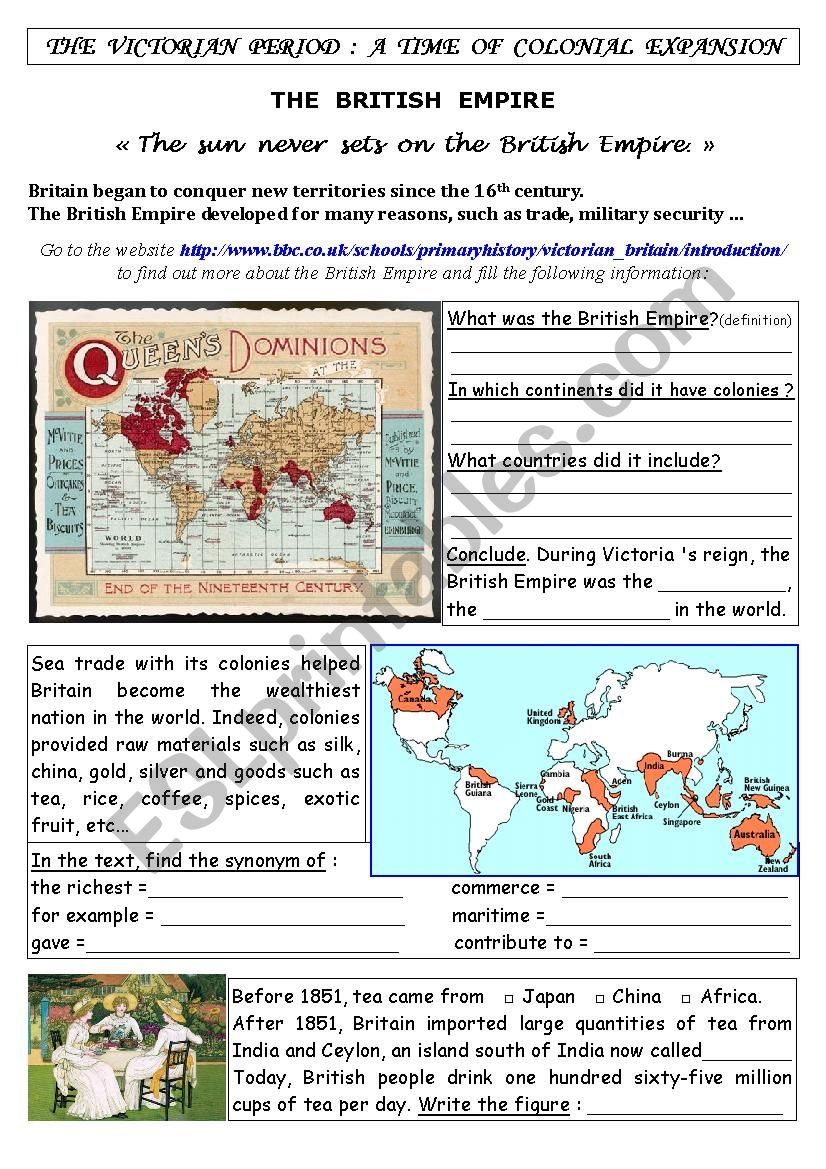 Webquest The British Empire worksheet