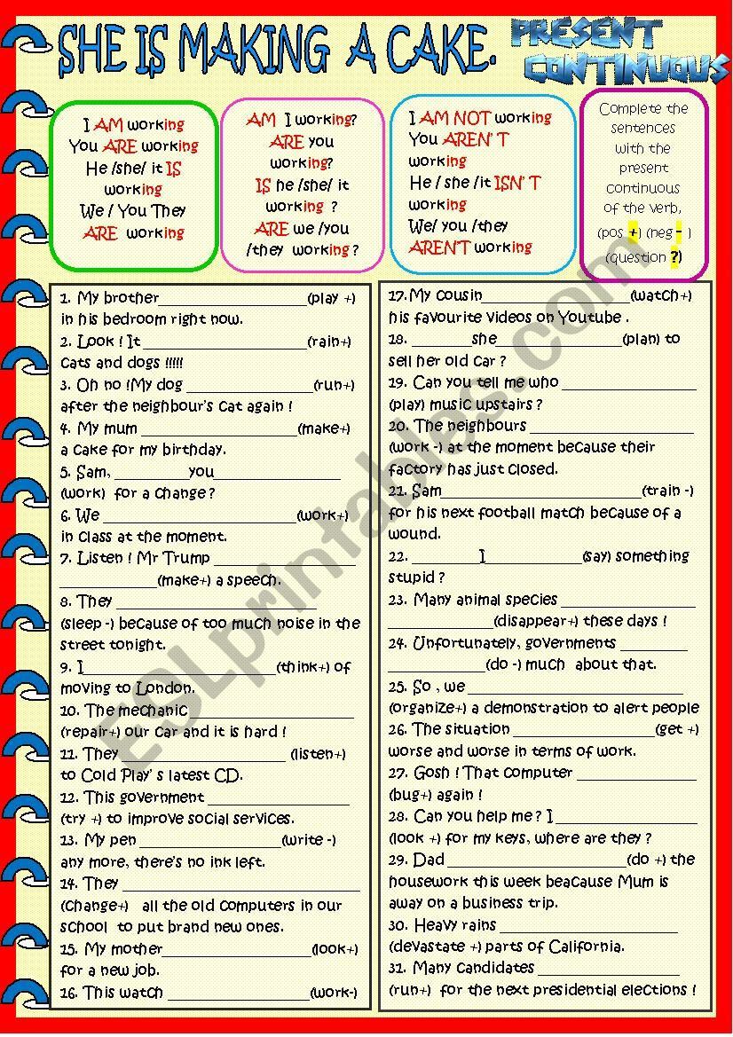 Present continuous practise worksheet