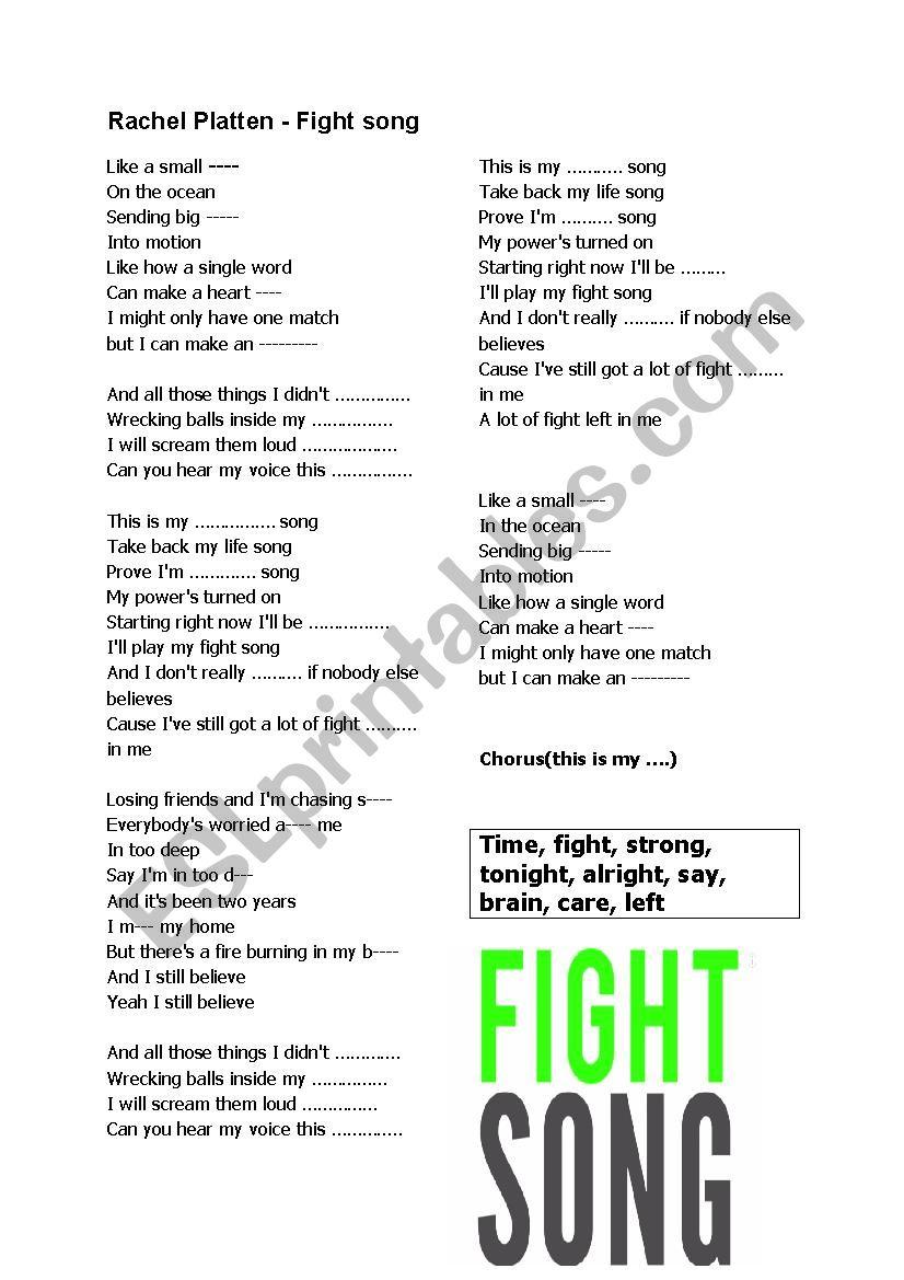 Rachel Platten - fight song worksheet