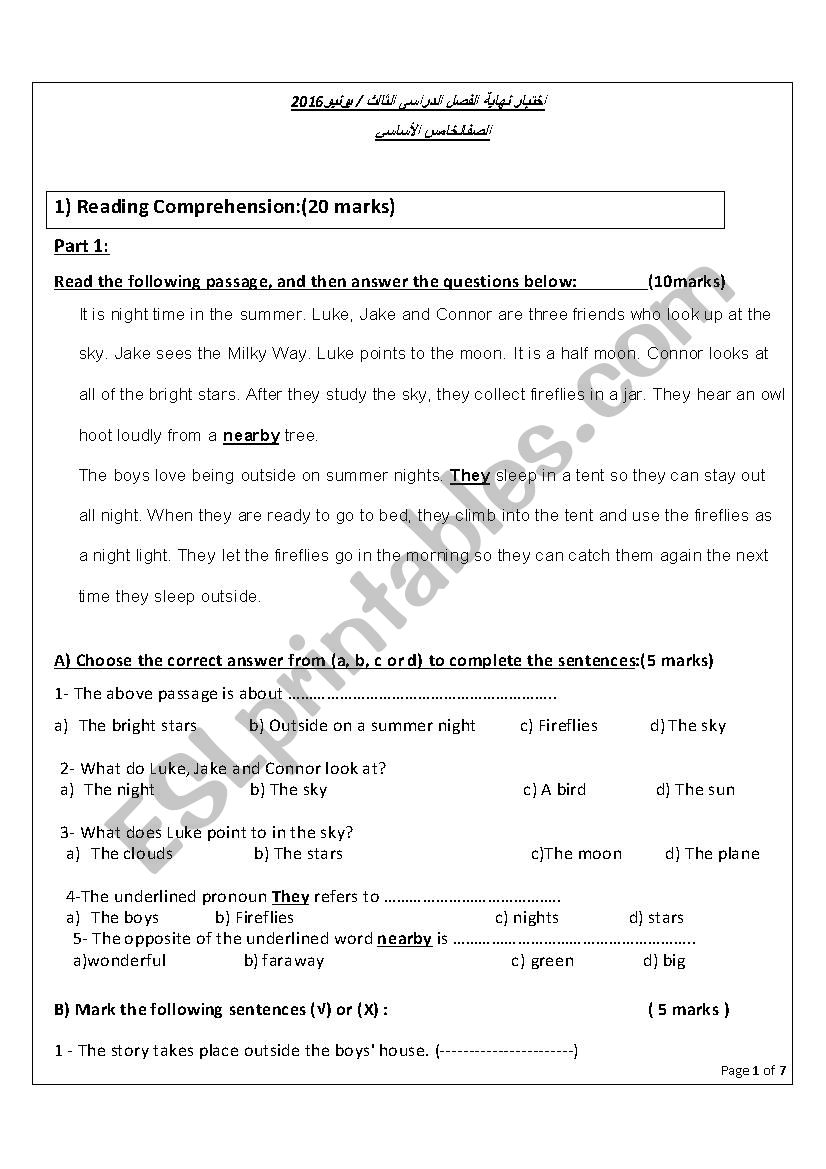 - Test For Grade 5 - ESL Worksheet By Lilloo