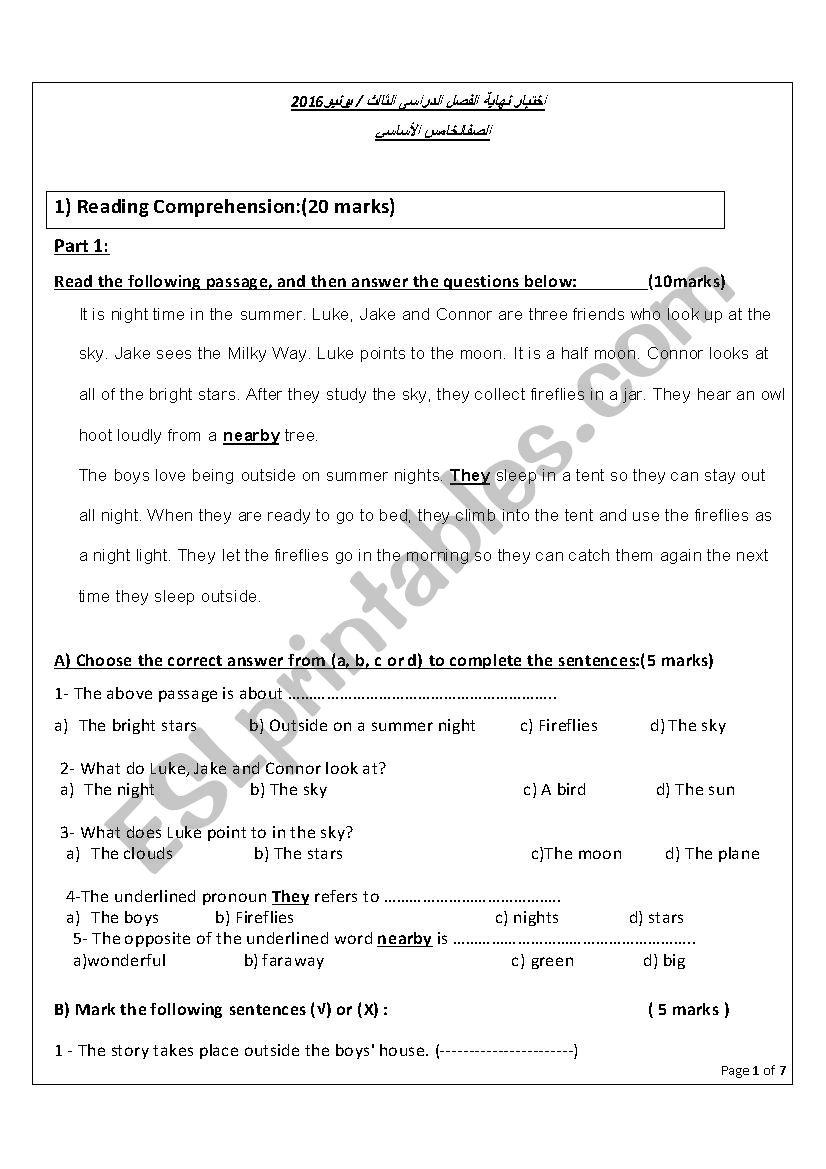 test for grade 5 worksheet