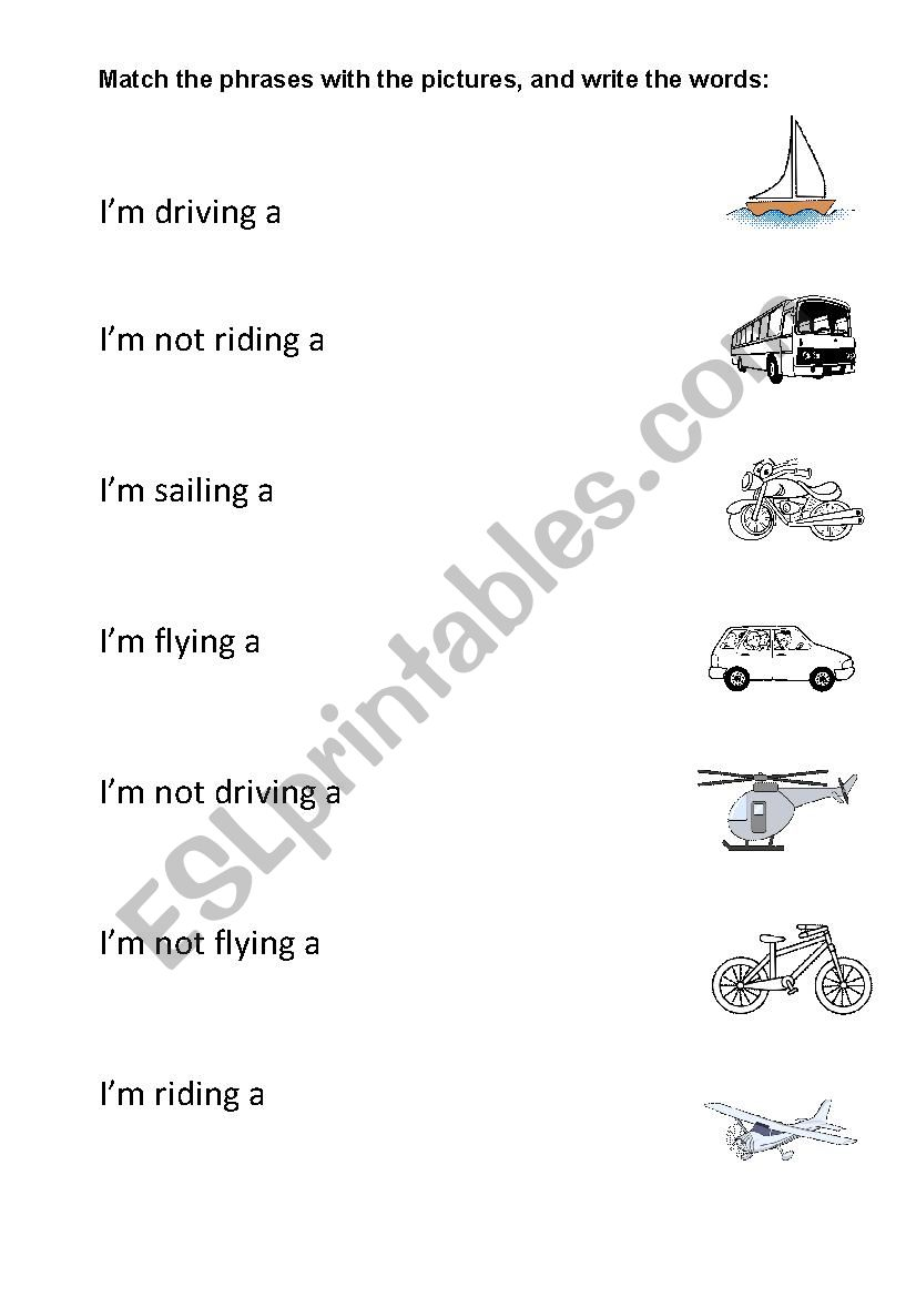 Driving, sailing, flying worksheet