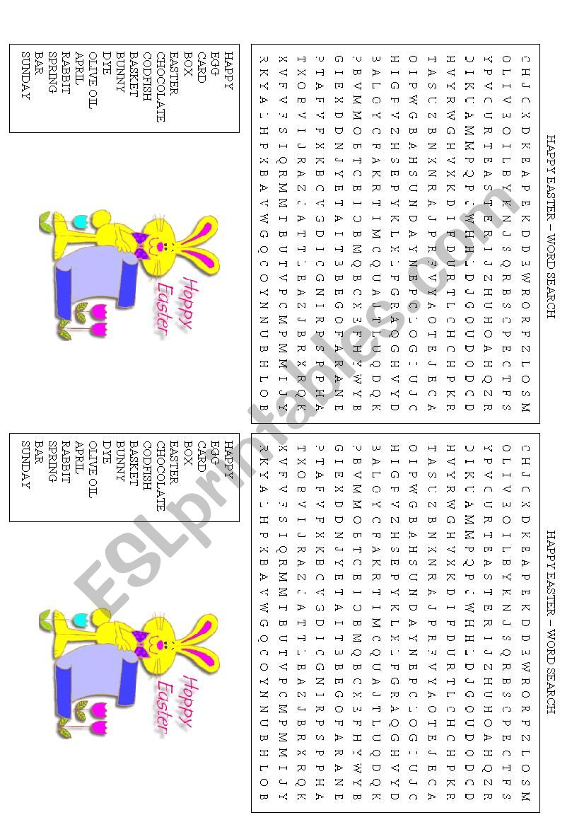 Easter Word Search worksheet
