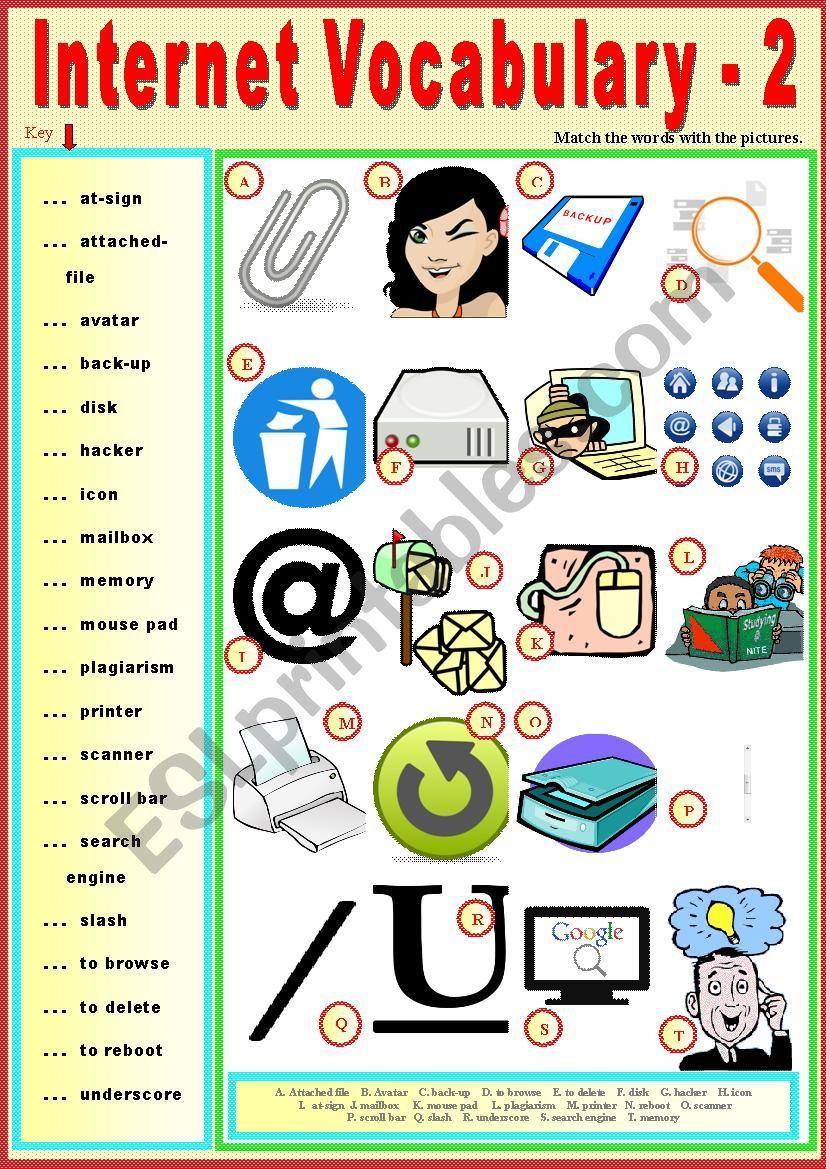 Internet Vocabulary-2. Matching exercise + KEY.