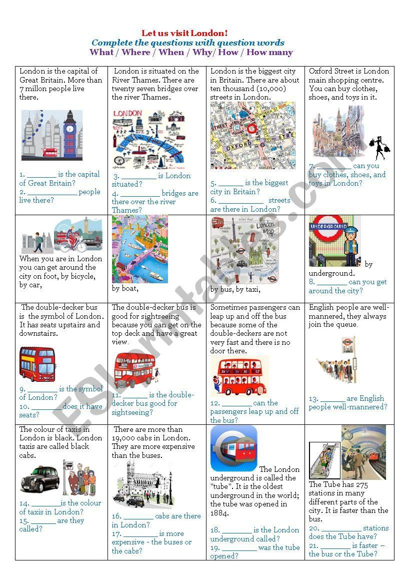 Let us visit London! worksheet