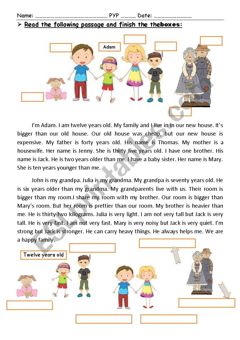 A reading comprehension passage about family. Focusing on comparative adj.
