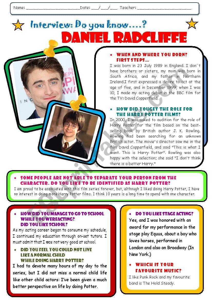Interview to Daniel Radcliffe worksheet