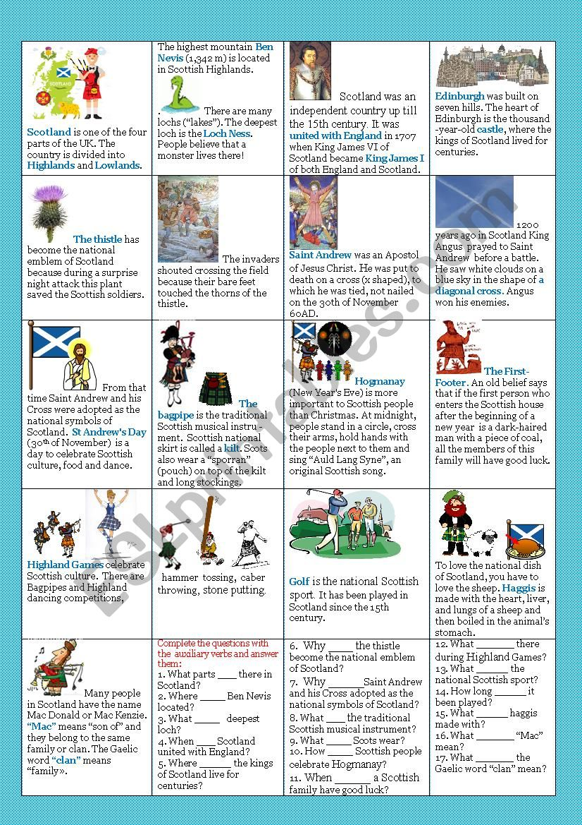 Scotland Esl Worksheet By Olena Linchuk