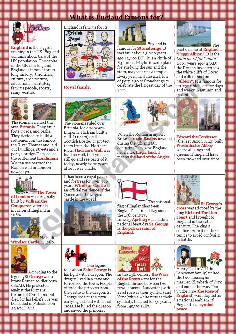 What is England famous for?