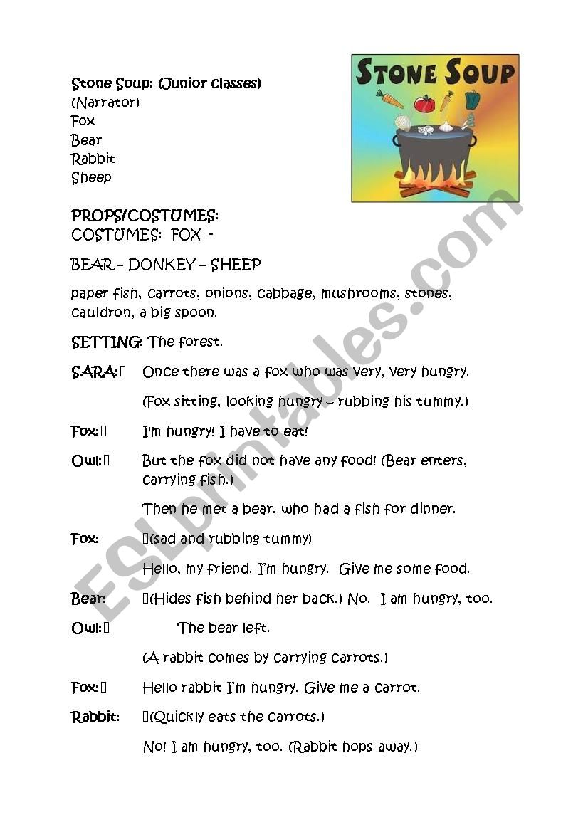 Stone Soup - Kids Theatre worksheet