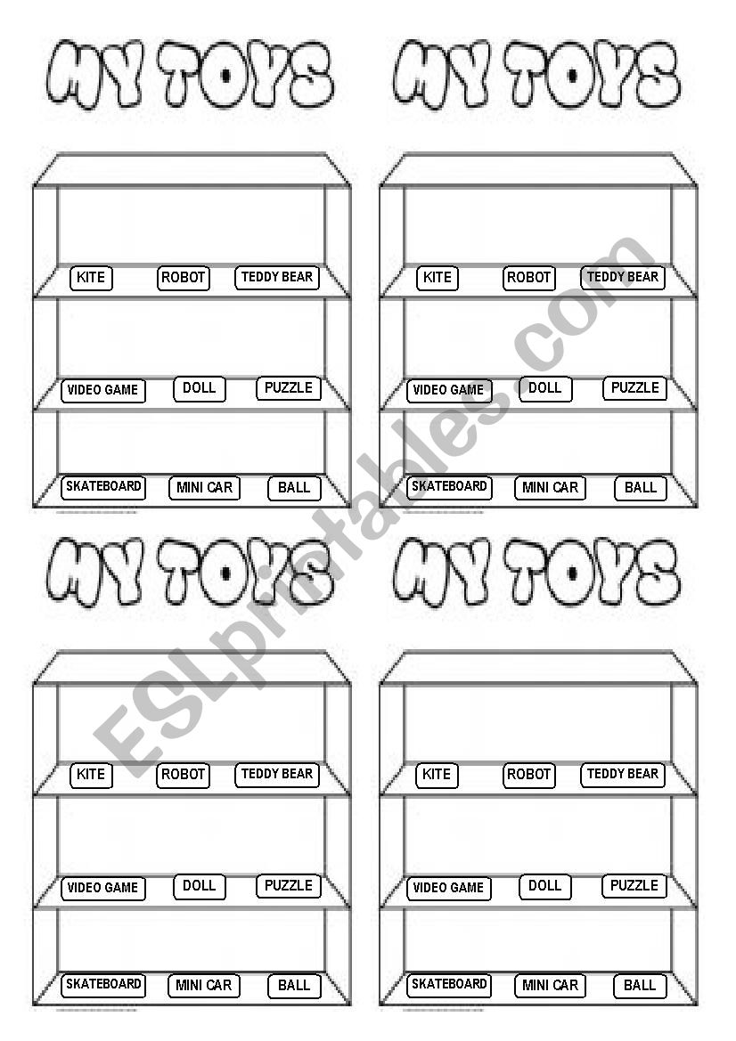 TOY SHELF worksheet