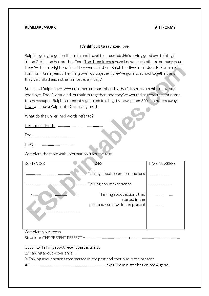REMEDIAL WORK PRESENT PERFECT worksheet