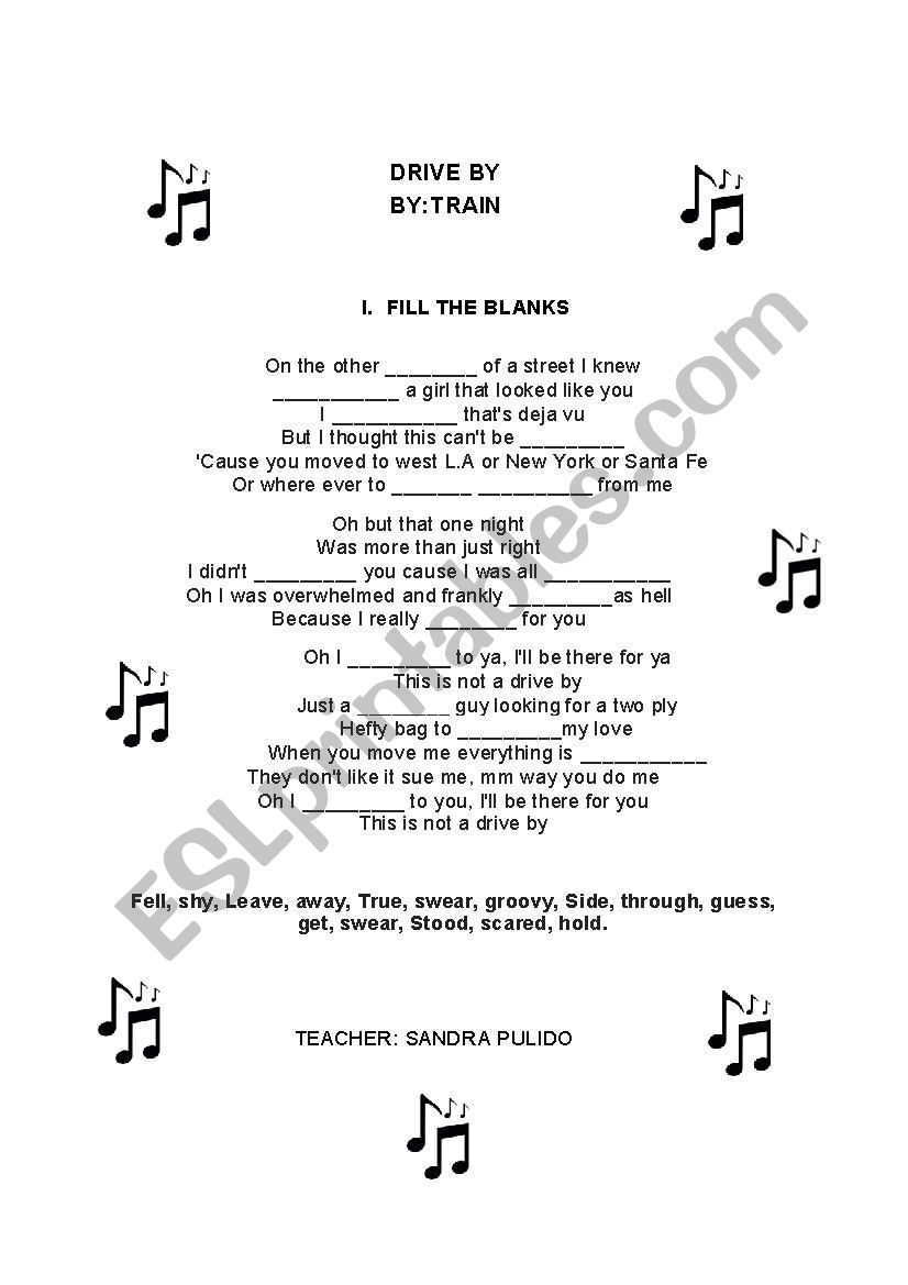 DRIVE BY - TRAIN SONG worksheet