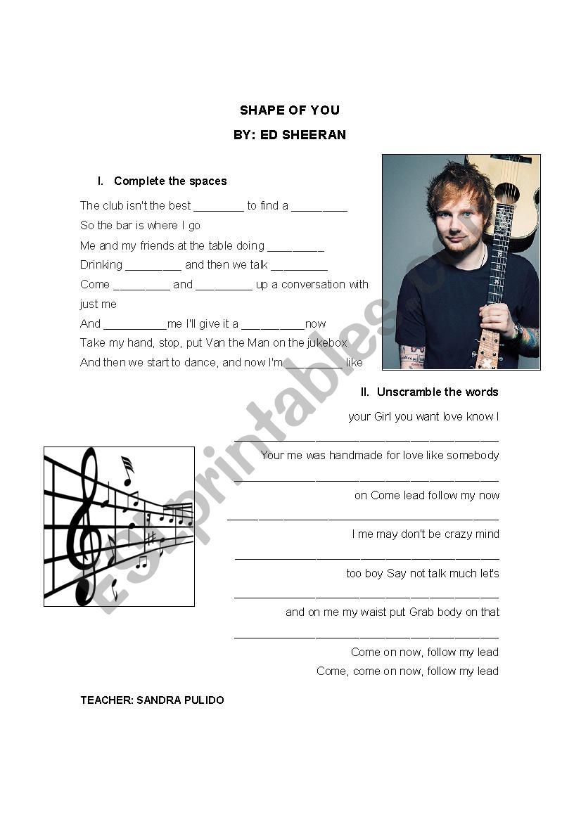 SHAPE OF YOU - ED SHEERAN worksheet