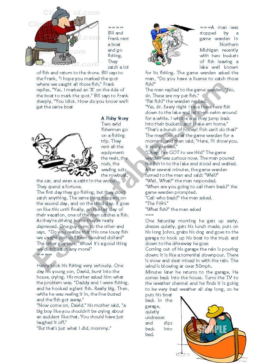 Fishing Jokes - ESL worksheet by elfelena