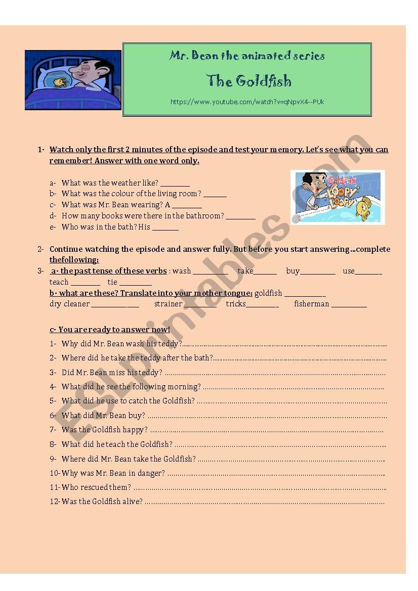 Mr Bean Esl Worksheet By Flowerjuy