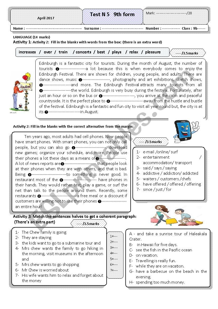 services and entertainment  worksheet