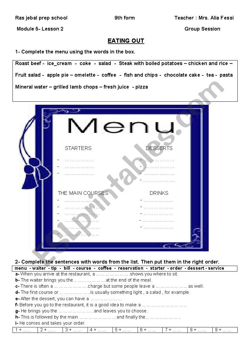 EATING OUT CONSOLIDATION worksheet