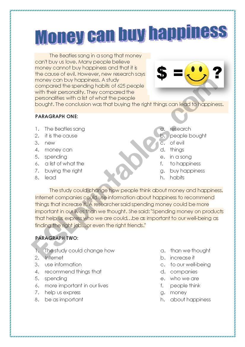 Money Can Buy Happiness Esl Worksheet By Ksenia195