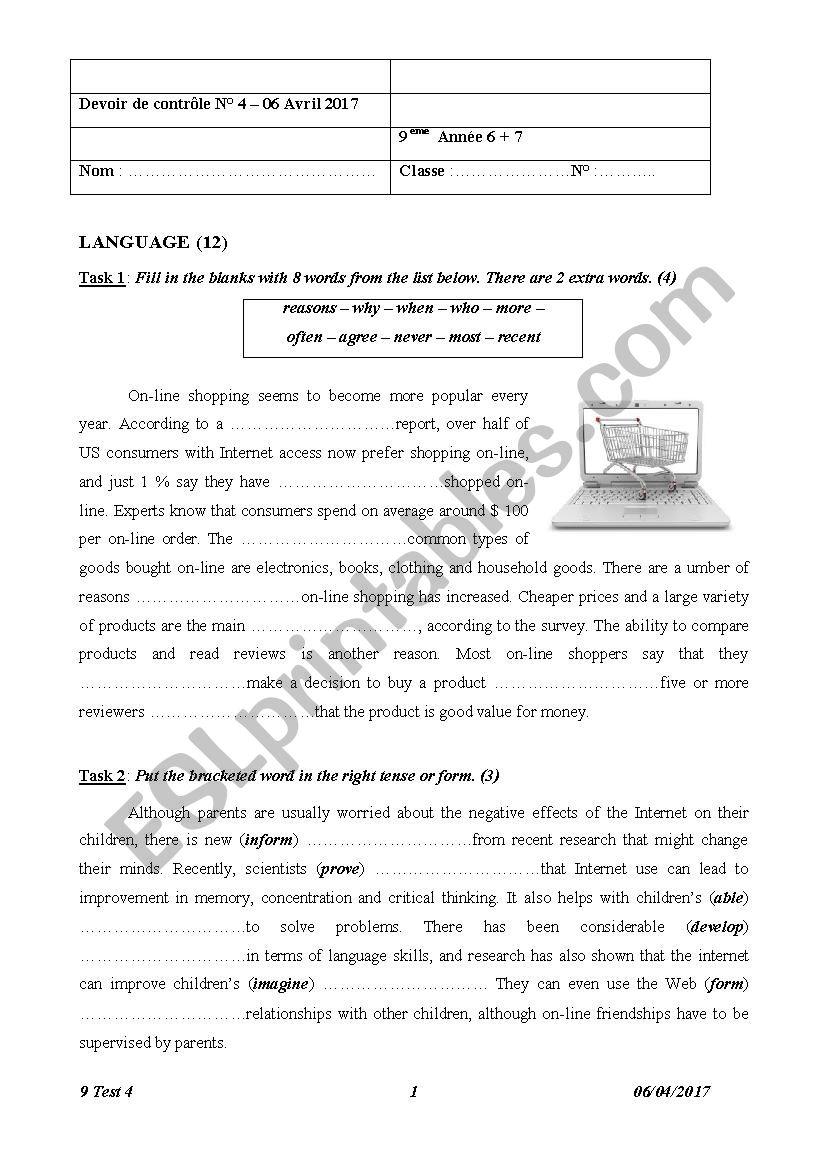 9 Form Test 2 Semester 2  worksheet