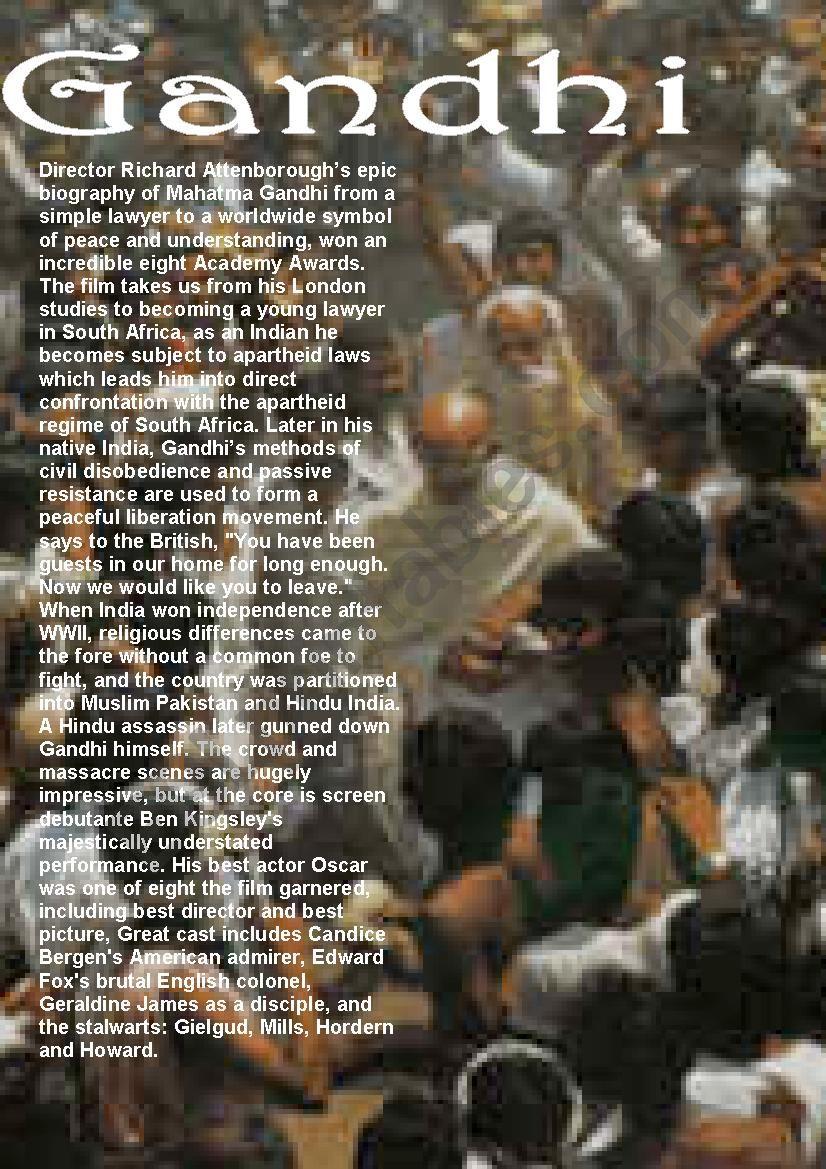 Gandhi - opening scenes worksheet
