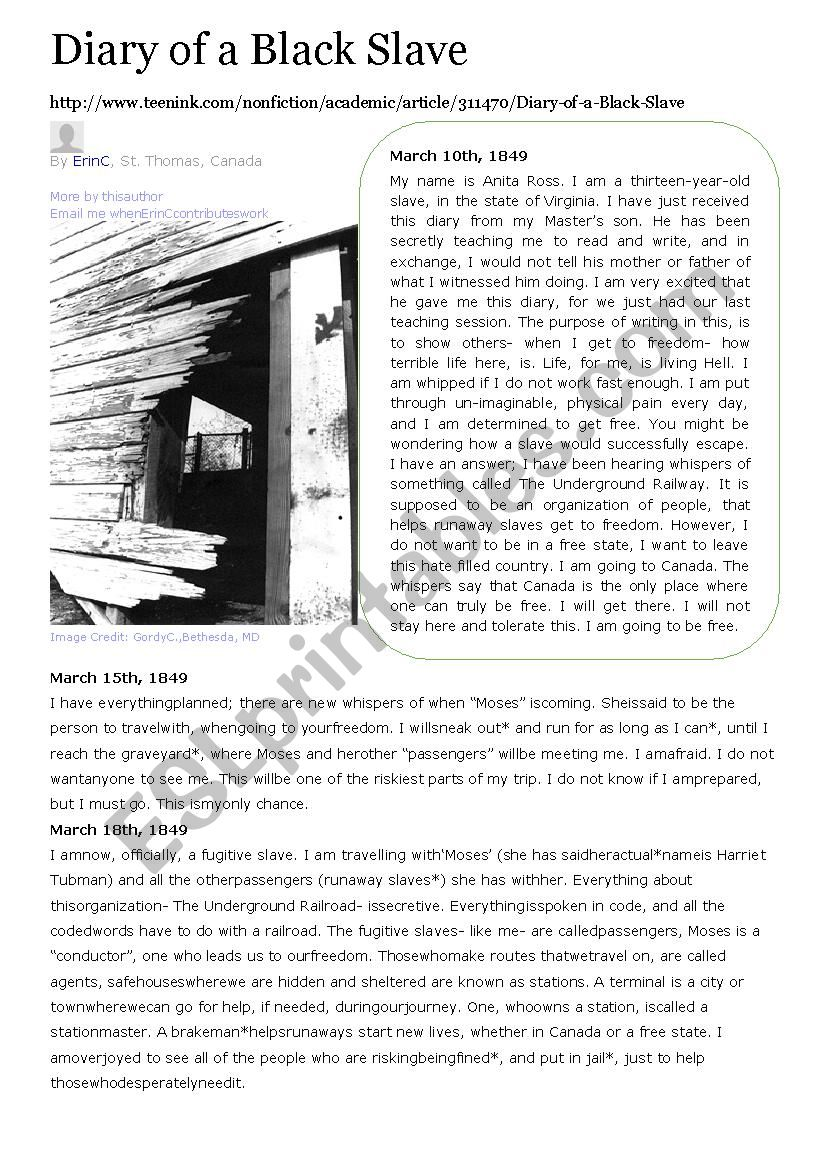 Diary of a black slave  worksheet