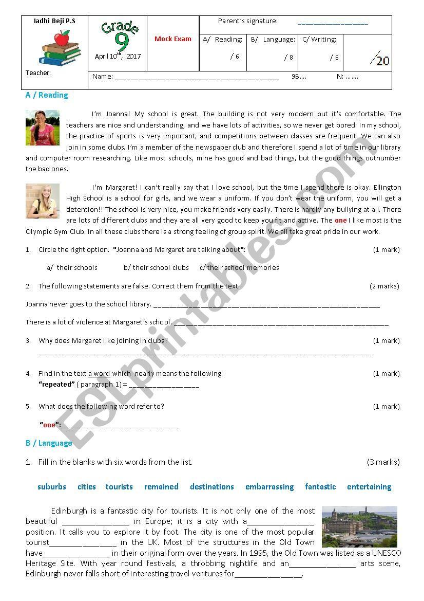 9th form Mock Test April 2017 worksheet