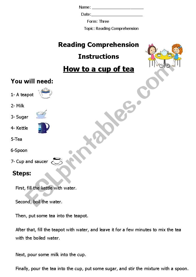 Reading Comprehension ´How to Make a Cup of Tea´ - ESL
