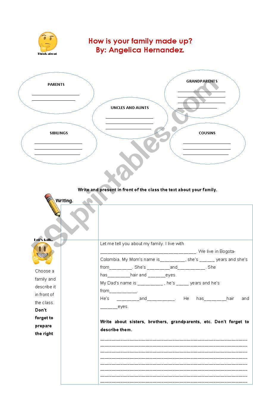My family writing - speaking worksheet
