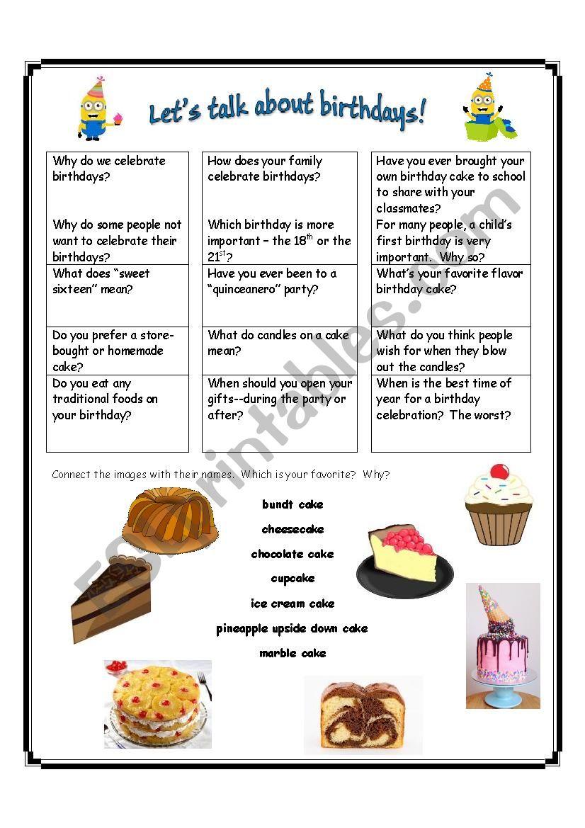 Let´s Talk about Birthdays worksheet
