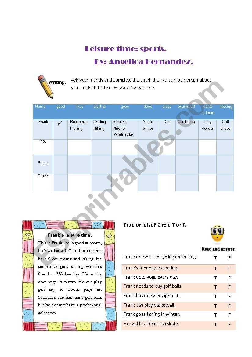 Leisure Time:sports. worksheet