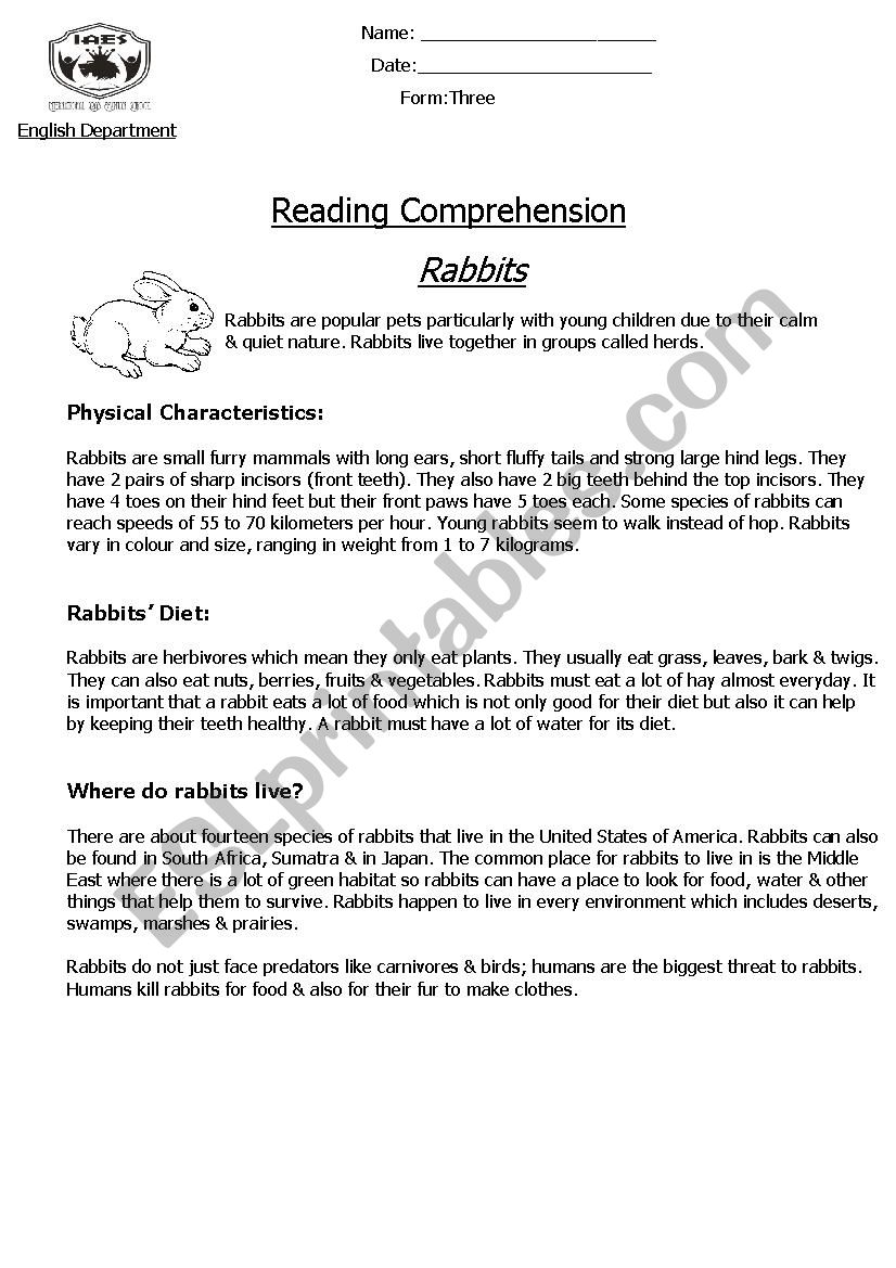 - Reading Comprehension - Non-Chronological Report (Rabbits) - ESL