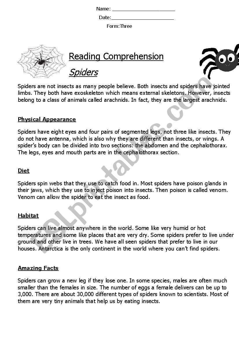 - Reading Comprehension ´Non-Chronological Report´ (Spiders) - ESL