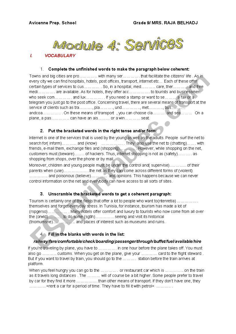 Module 4 Revision Grade 9 Services