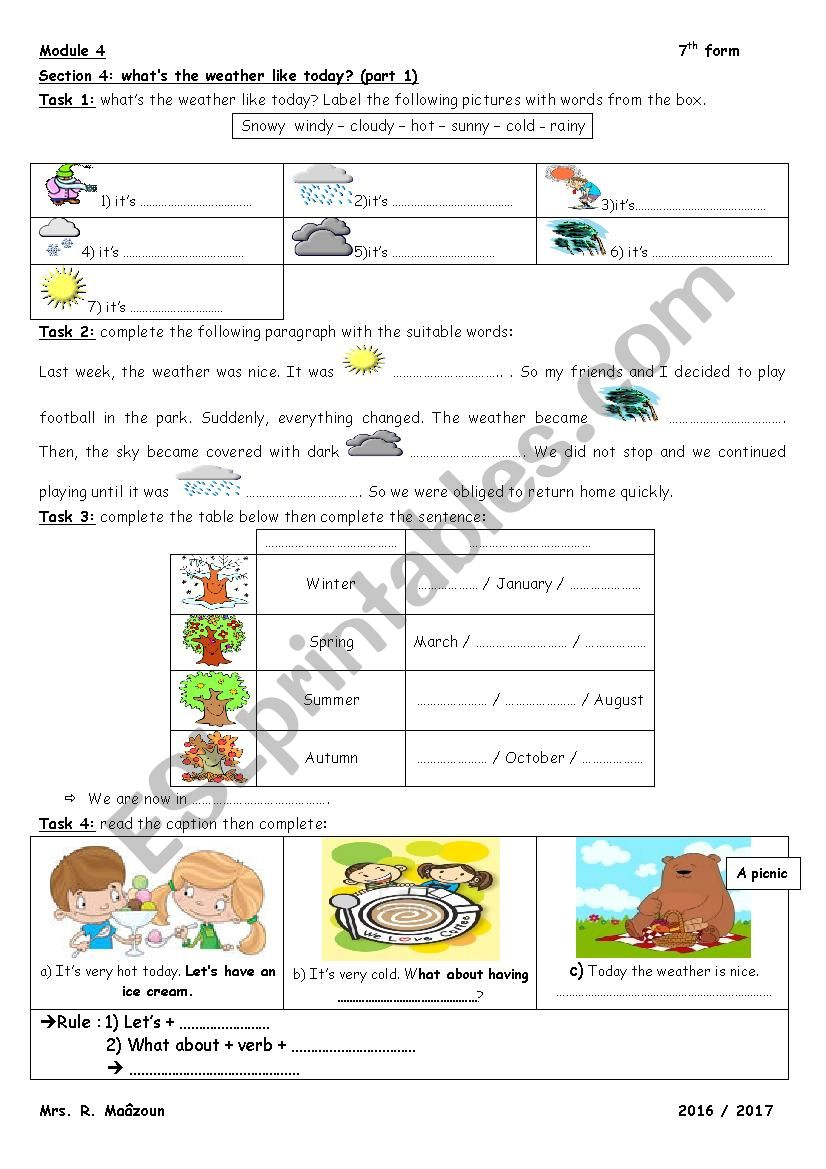 module 4 section 4 what´s the weather like today part 1 7th form