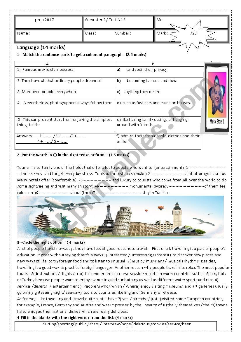 semester2/ test 2 9th form worksheet