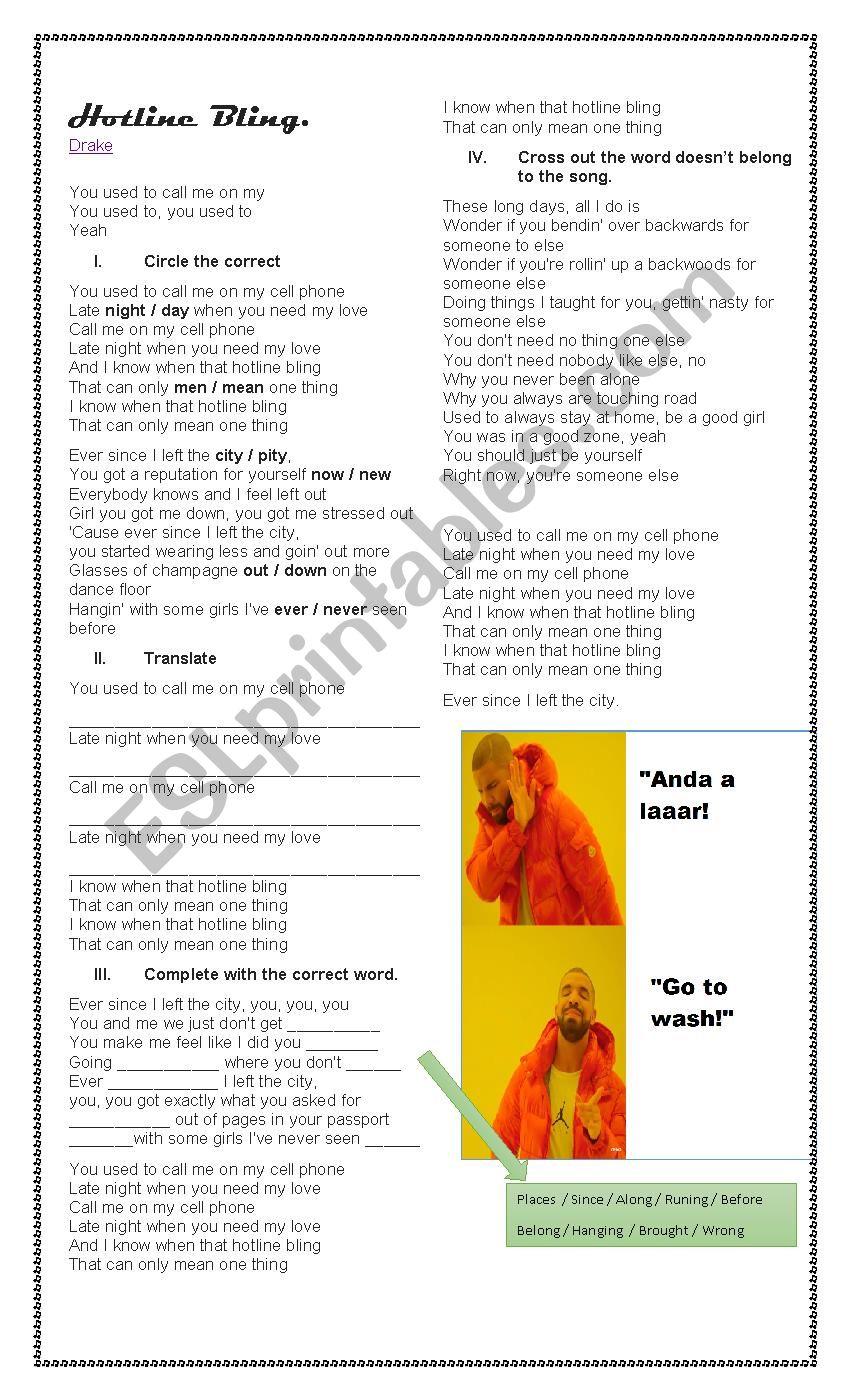 Hot Bling - Drake worksheet
