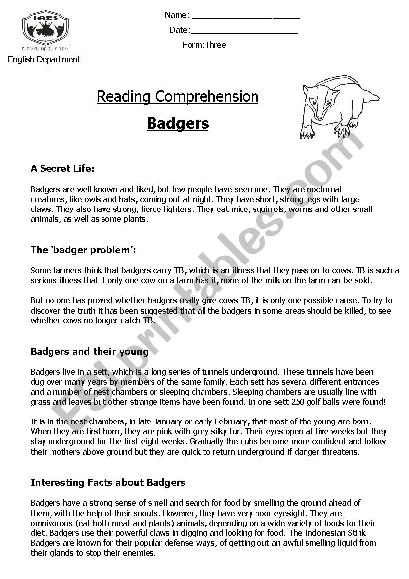 - Reading Comprehension ´Non-Chronological Report´ (Badgers) - ESL