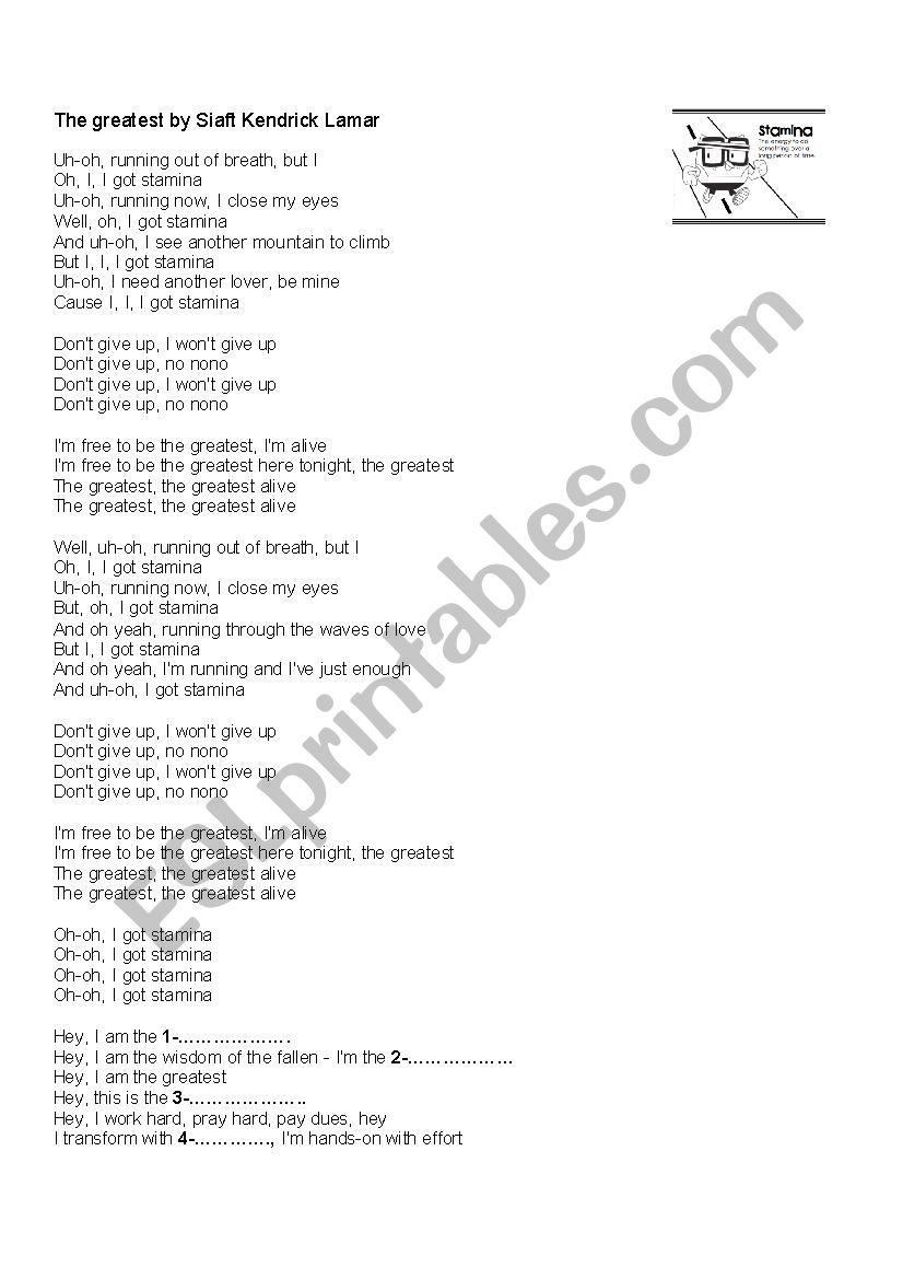 the greatest by Sia - ESL worksheet by yayuarri