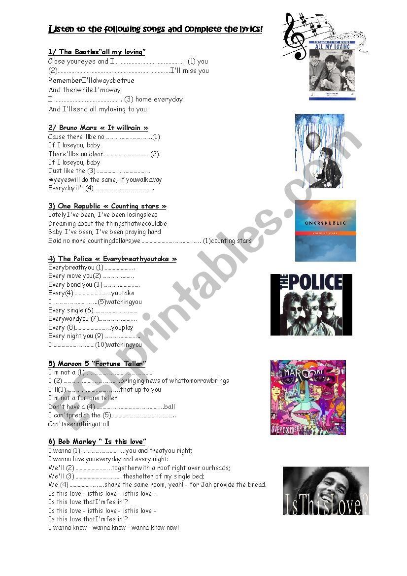 Find the lyrics (future tense) - ESL worksheet by sophieenglish