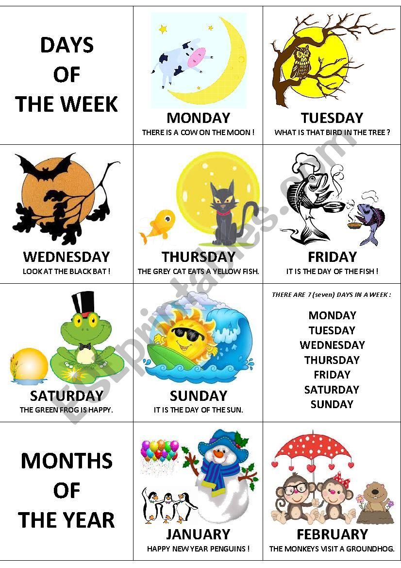Days and months flashcards worksheet