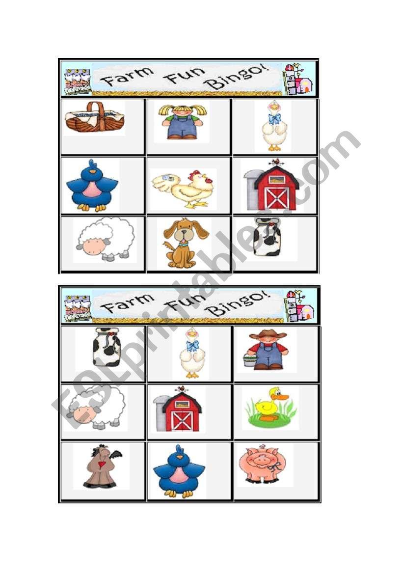Farm Bingo 2/3 worksheet