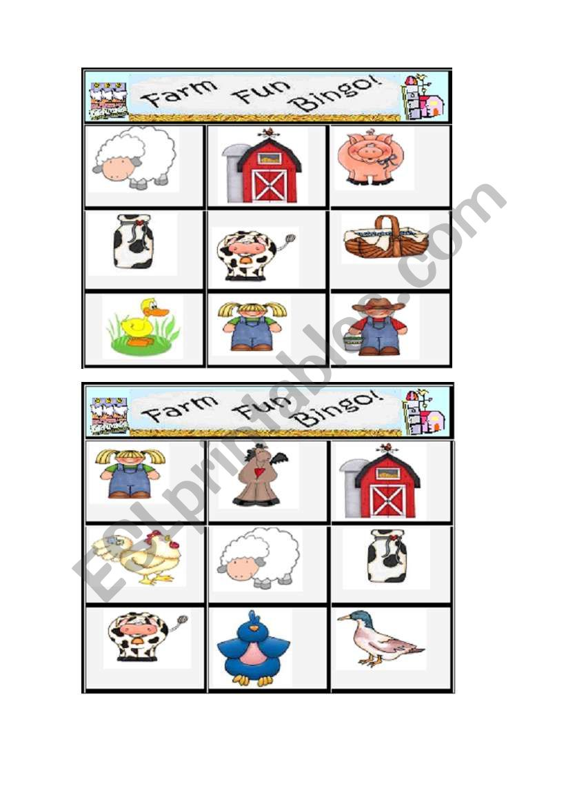Farm Bingo 3/3 worksheet