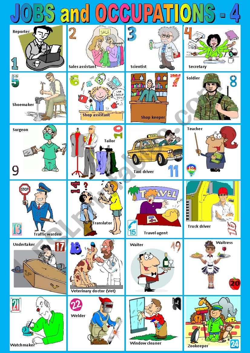 Jobs and Occupations from R to Z - 4. Pictionary. + KEY
