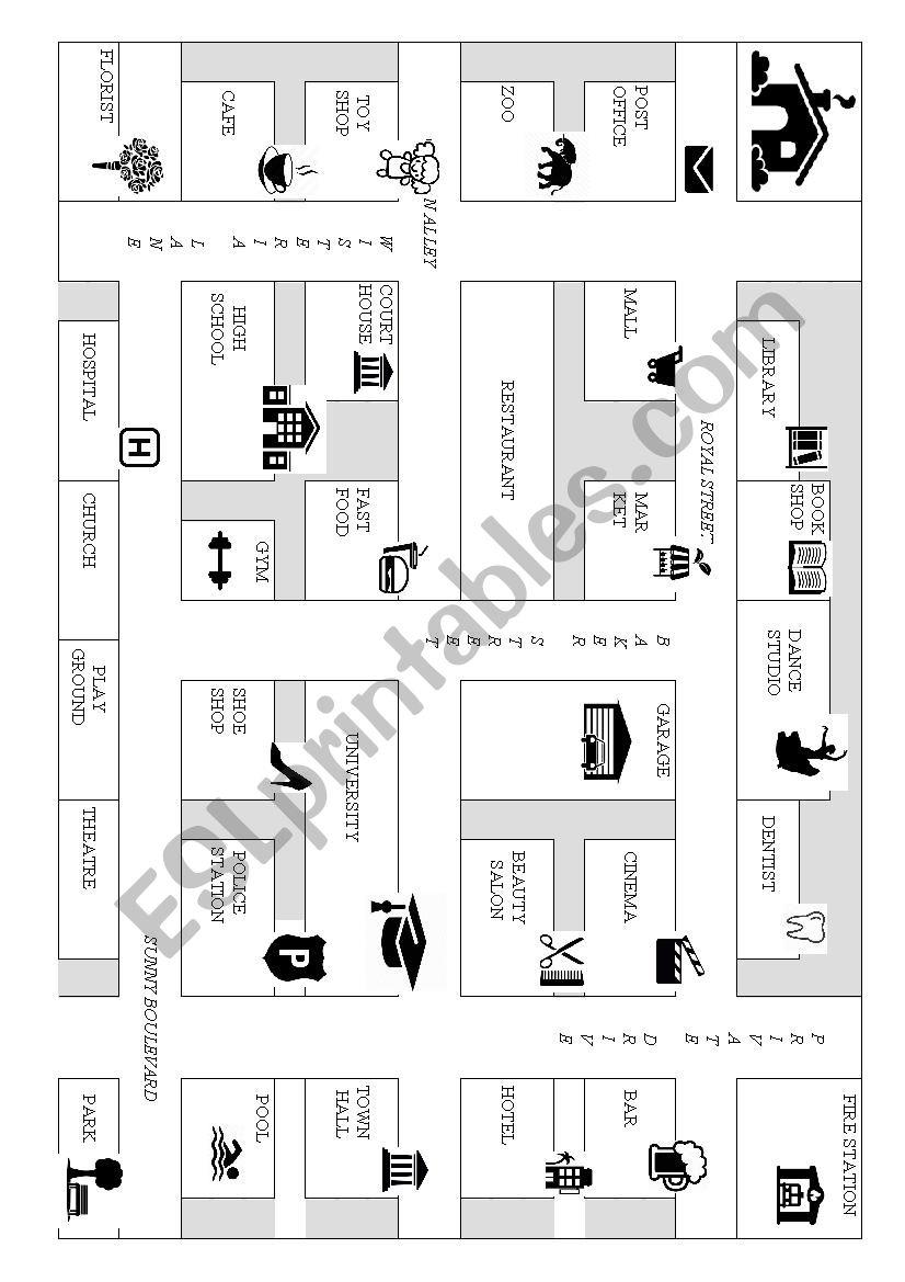 map for teaching directions esl worksheet by evalore. Black Bedroom Furniture Sets. Home Design Ideas