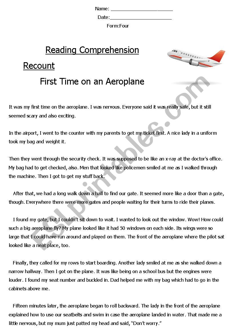 Reading Comprehension ´Recount´ (First Time on an Aeroplane
