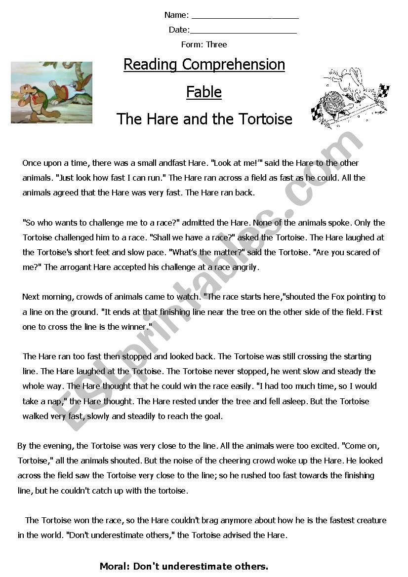 - Reading Comprehension ´Fable´ (The Hare And The Tortoise) - ESL