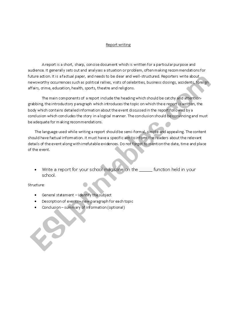 Report Writing - ESL worksheet by arifbill