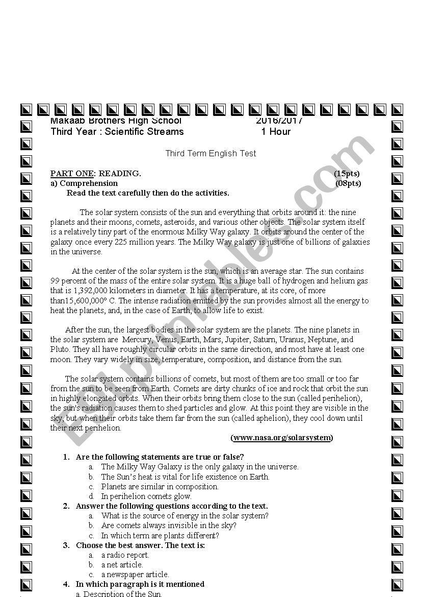 Third Year exam worksheet